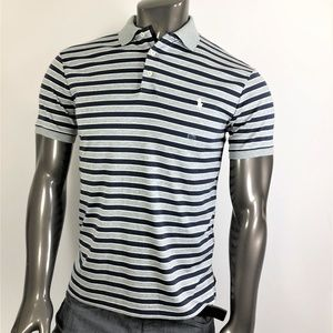 Ralph Lauren Grey Polo With Dark Blue & White